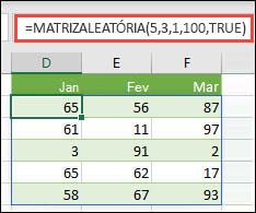 Função MATRIZALEATÓRIA com argumentos Mín, Máx e Número inteiro