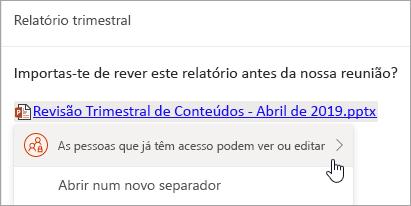 Uma captura de ecrã de uma ligação a um OneDrive ficheiro