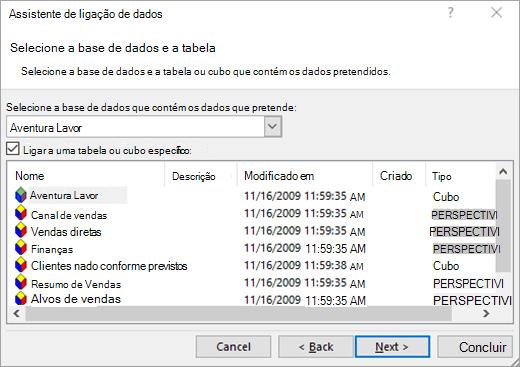 Ecrã 2 do Assistente de Ligação de Dados