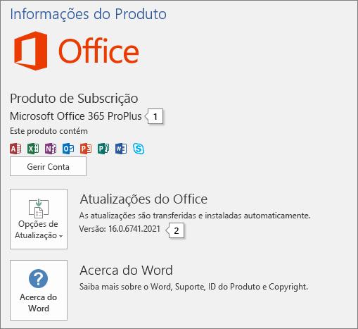 Captura de ecrã da página Conta a mostrar o nome do produto do Office e o número de versão completo