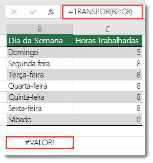 Erro #VALOR na função TRANSPOR