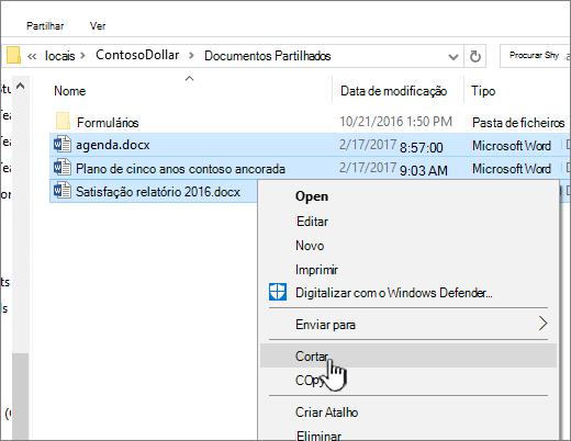 Clique à direita e selecione corte para mover um ficheiro