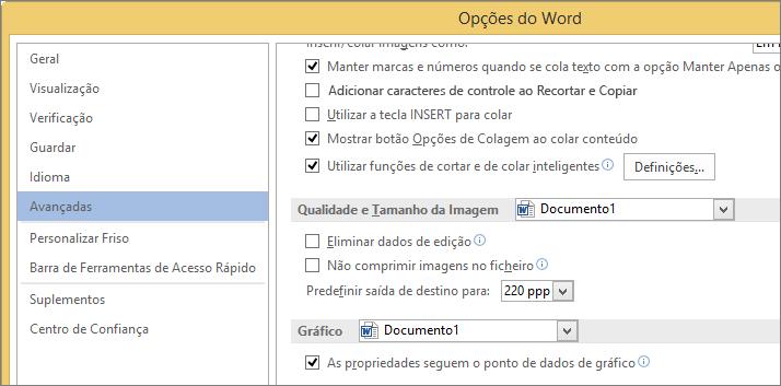 Opções de tamanho e qualidade de imagem no Word