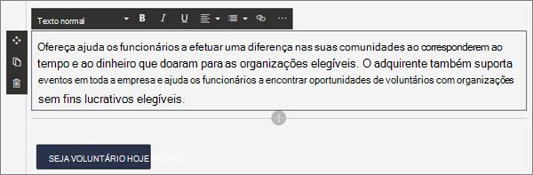 Opções de formatação para a peça Web texto enquanto edita uma página moderna no SharePoint