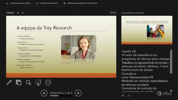 Vista do apresentador no PowerPoint 2016, com um círculo em torno as notas do orador