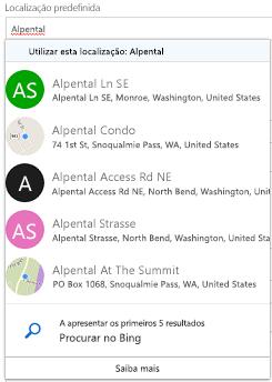 Localizações sugeridas são oferecidas através do Bing