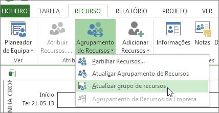 Atualizar o grupo de recursos após editar recursos num ficheiro de partidor
