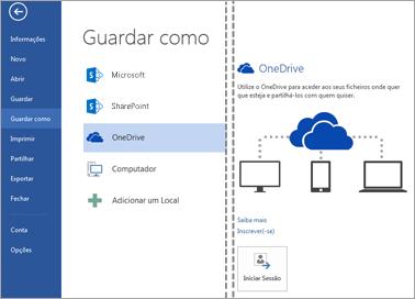 Guardar um ficheiro no OneDrive
