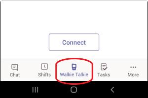Ícone do Walkie-Talkie na parte inferior do ecrã do Teams