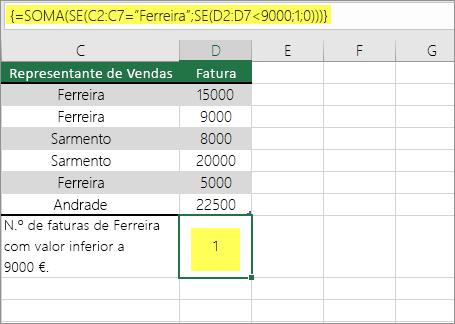 Exemplo 3: Funções SOMA e SE aninhadas numa fórmula