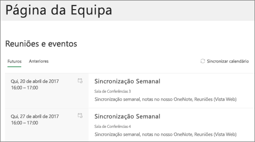 Parte web do calendário do grupo