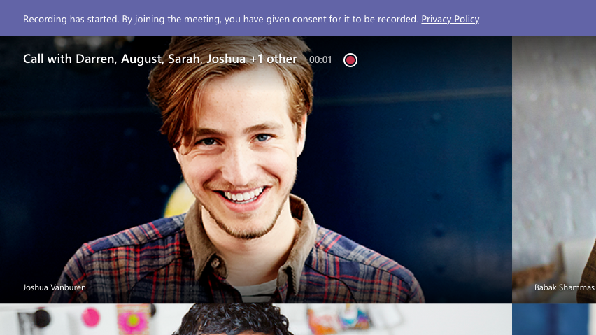Notificação de gravação de reunião para participante