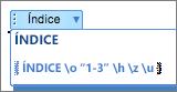 Se alternar a apresentação dos códigos de campo, pode editar as definições diretamente.