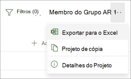 Screenshot do menu em Projeto para a web mostrando a opção Exportação para Excel