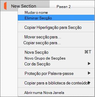 Menu de contexto Secção no Mac com a opção Eliminar Secção realçada.