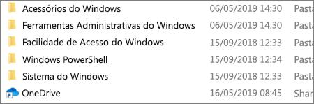 Uma captura de ecrã a mostrar a aplicação OneDrive no Explorador de Ficheiros.