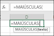 Captura de ecrã a mostrar a barra de ferramentas Referência de Funções