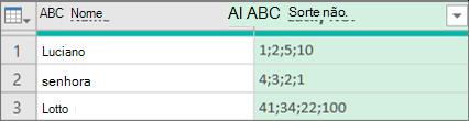 Resultados da expansão de uma coluna de lista estruturada extraindo valores com uma delimitter