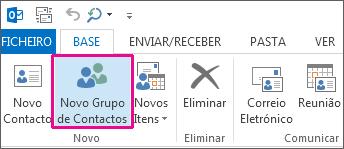 Clique em Novo Grupo de Contactos no separador Base