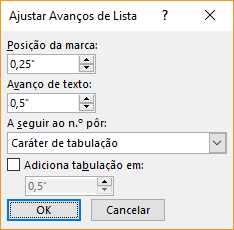 Captura de ecrã da caixa de diálogo Ajustar Avanços de Lista, onde pode especificar as definições de avanço de texto e posição da marca de lista. Também pode selecionar o que pretende inserir após um número e especificar onde adicionar uma tabulação.