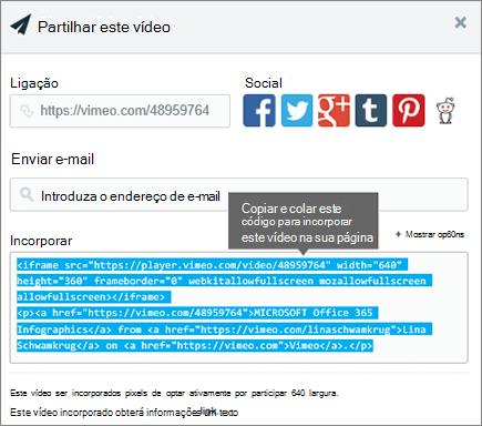 Exemplo de utilização de código de incorporação para incorporar conteúdo na página SharePoint