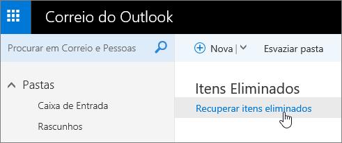 Uma captura de ecrã do botão Recuperar Itens Eliminados.