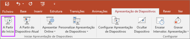 """Mostra o botão """"a partir do início"""" no separador da apresentação de diapositivos no PowerPoint"""