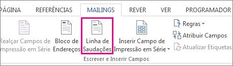 Captura de ecrã a mostrar o separador Correio no Word, com o comando Saudação realçado.