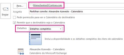 Email de convite para partilhar a caixa de correio externamente – caixa Para e definição de Detalhes
