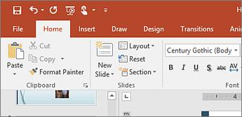 Captura de ecrã a mostrar o comando Repor, no grupo Diapositivos, no separador Base