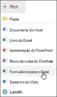 Opção Inserir um Formulário no Excel Online