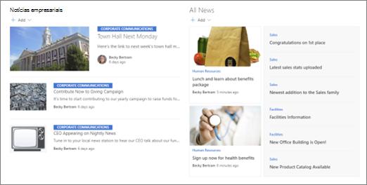 Exemplo de notícias enroladas em um site de hub