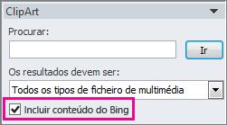 Incluir caixa de verificação de conteúdo do Bing