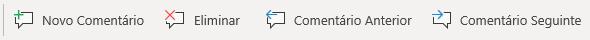 Os botões de Comentário no Windows Mobile: Criar Novo Comentário, Eliminar Comentário Atual, Ir Para o Comentário Anterior e Ir Para o Comentário Seguinte