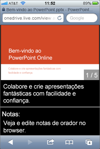 Diapositivos e notas de orador no Mobile Viewer para PowerPoint