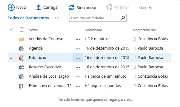 Caixa de diálogo da biblioteca de documentos do sharepoint com vários ficheiros no mesmo.