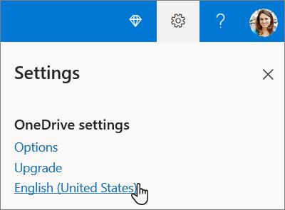 Definições do OneDrive para selecção de idioma