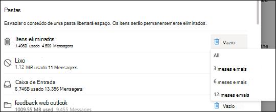 Definições de armazenamento para Outlook.com.