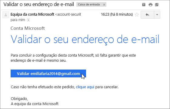 Verificar o seu endereço de e-mail