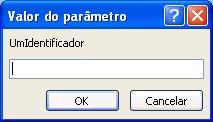"""Mostra um exemplo de uma caixa de diálogo valor do parâmetro inesperado, com um identificador denominado """"SomeIdentifier"""", um campo no qual pretende introduzir um valor e botões OK e cancelar."""