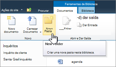 Friso de documentos do SharePoint 2010 com a nova pasta realçada