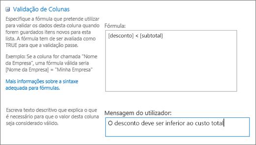 Caixa de diálogo de validação de coluna com campos preenchida com dados de exemplo
