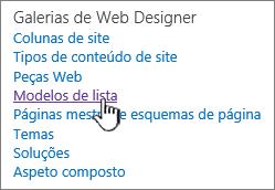 Os modelos de lista ligam na página de definições do site