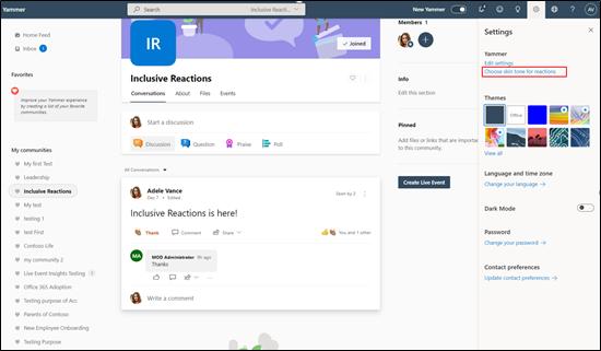 Screenshot mostrando o ecrã completo para reações inclusivas