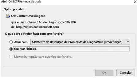Guardar o ficheiro O15CTRRemove.diagcab no Firefox