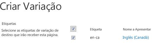 Screen shot com caixas de verificação mostrando os sites de variação que devem receber atualizações de conteúdo. Incluem-se as etiquetas de variação e os respetivos nomes de exibição