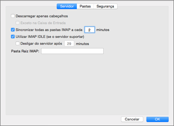 Definições do servidor de conta IMAP do Outlook 2016 para Mac