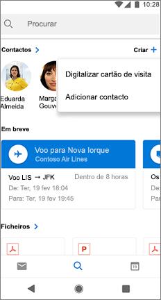 Ecrã de pesquisa com uma opção procurar cartão de visita junto ao nome de um contacto