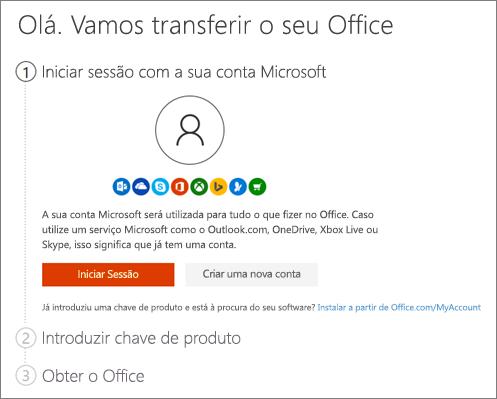 Mostra a página inicial de setup.office.com