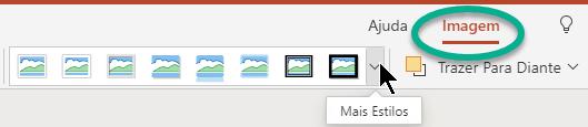 O separador Imagem, no Friso, está disponível quando uma imagem está selecionada no diapositivo.